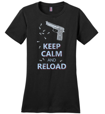 Keep Calm and Reload - Pro Gun Women's Tshirt - Black