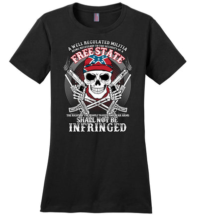 The right of the people to keep and bear arms shall not be infringed - Ladies 2nd Amendment Tee - Black