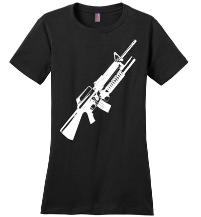 M16A2 Rifles with M203 Grenade Launcher - Pro Gun Tactical Ladies Tee - Black