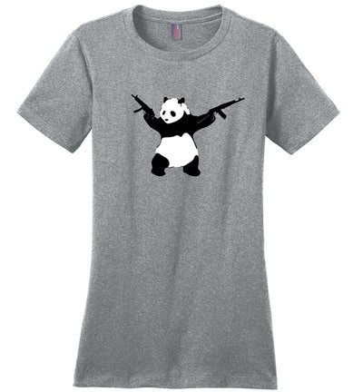 Banksy Style Panda with Guns - AK-47 Women's T Shirt - Heathered Steel
