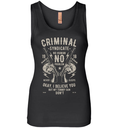 Thompson Submachine Gun Women's Pro Gun Tank Top - Black