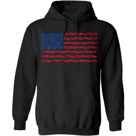 American Flag Made of Guns Silhouettes Hoodie