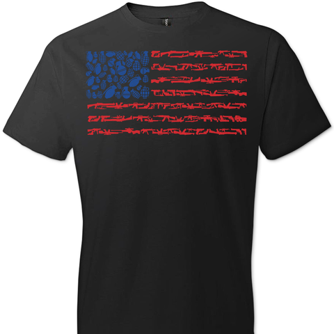 American Flag Made of Guns Silhouettes T-Shirt