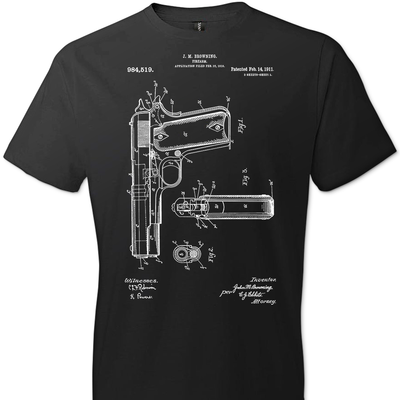 Colt Browning 1911 Handgun Patent Men's Tshirt - Black