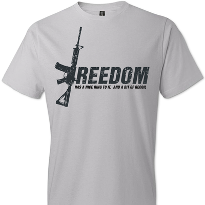 Freedom Has a Nice Ring to It. And a Bit of Recoil - Men's Pro Gun Clothing - Light Grey T Shirts
