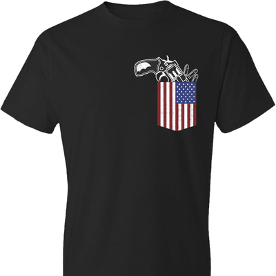 Gun in the Pocket, USA Flag-2nd Amendment Men's T Shirts-Black