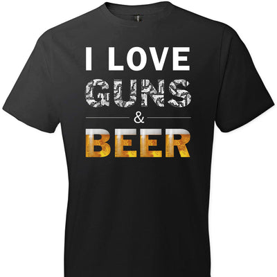 I Love Guns & Beer - Men's Pro Firearms Apparel - Black T Shirts
