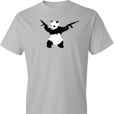 Banksy Style Panda with Guns - AK-47 Men's T Shirt - Light Grey