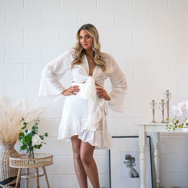 Natural White Ruffle Wrap Skirt - Filly Faux