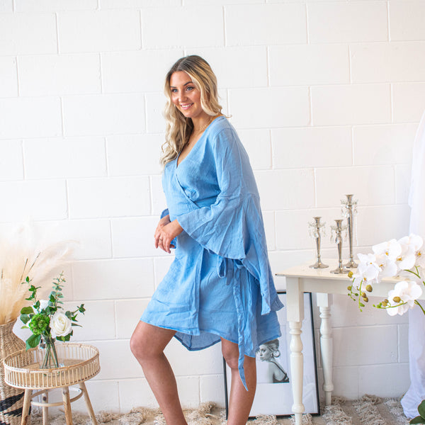 Sky Blue Angel Sleeve Wrap Dress - Filly Faux