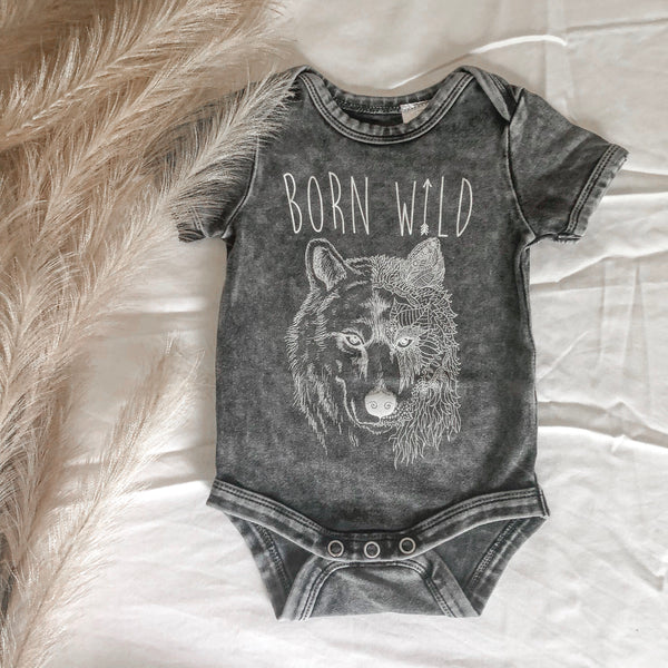 Stonewashed Vintage Printed Onesie - Born Wild - Filly Faux
