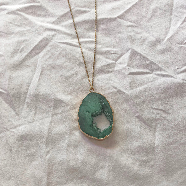 Crystal Pendant Necklace - Green - Filly Faux