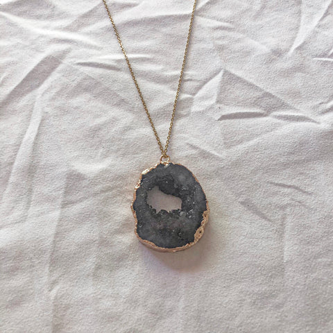 Crystal Pendant Necklace - Charcoal - Filly Faux