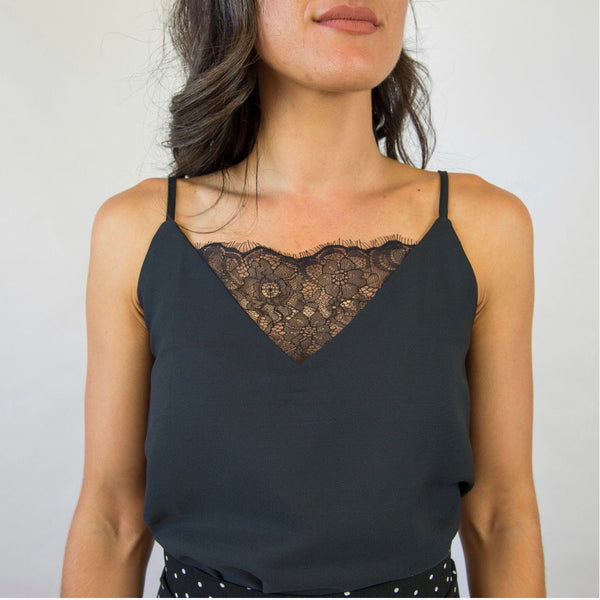 Black Lace Camisole - Filly Faux