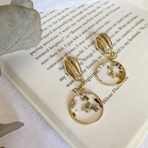 Round Vintage Shell Earrings - Filly Faux