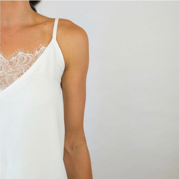 Lace Camisole (White) - Filly Faux