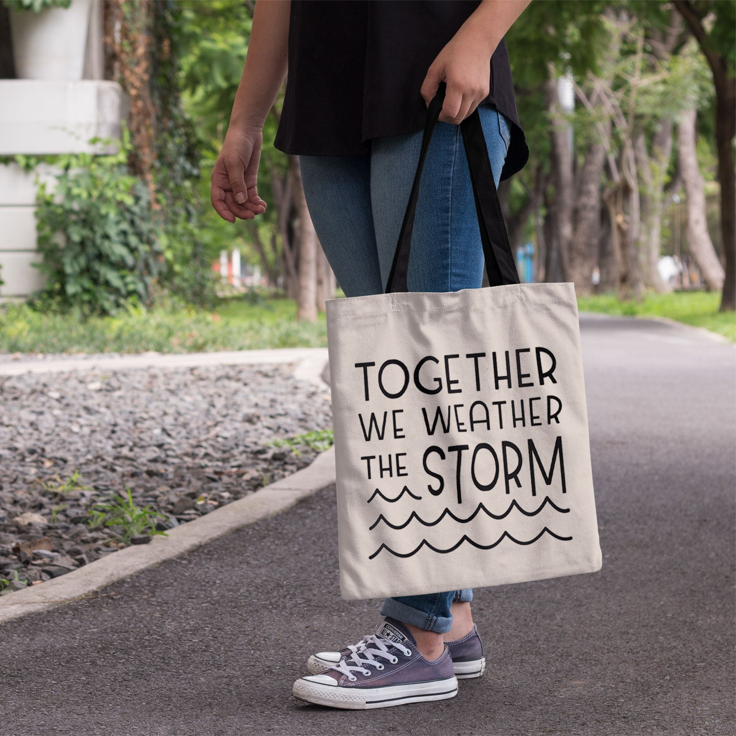 """Together We Weather the Storm"" Tote Bag"