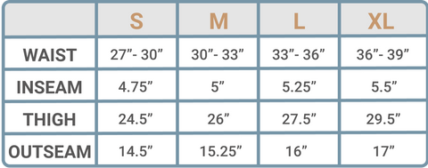 Wowie Shorts Size Guide