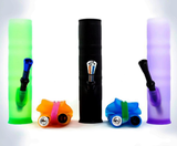 Unbreakable bongs in green, orange, black, blue, and purlple