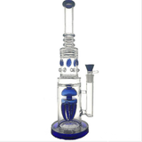 Tall + Green | Blue Octopus Bong - Honeycomb Straight-Tube