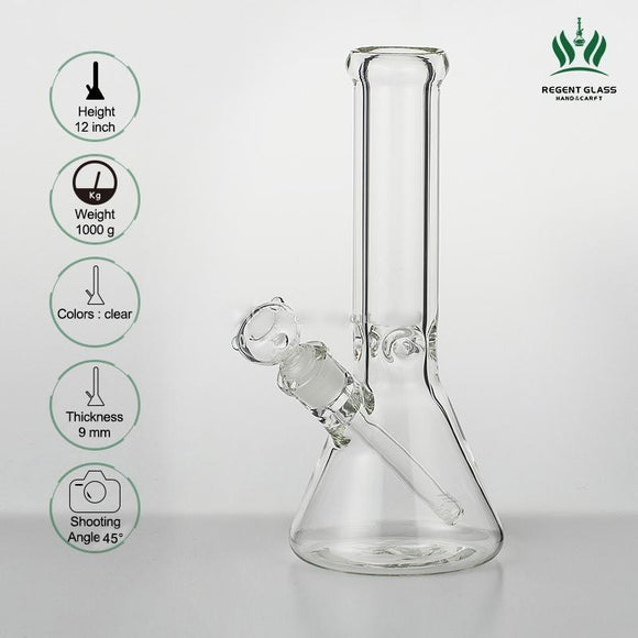 seed of life 12 inches 9mm Bong Beaker Ice thick elephant Joint waterpipe with Beaker 14mm Male Joint Water Pipe glass smoking pipe