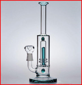 teal glass water bong