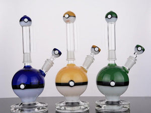 Heady Yellow Poke Bubbler Bong Colorful Recycler Dab Rig Blue Thick Ball Beaker Removable Bong with 14MM joint