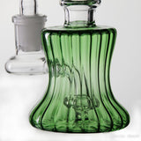 Green 6in Dab Rig Bubbler ridges close up