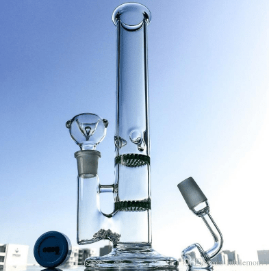 Ice Pinch - Green Percolator Bong - 11.5in(29cm) Tall - 18.8mm Joint