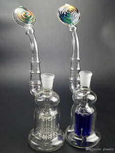 10.8 Inches Colorful Bong 10.5 inches Glass Bong with 8 Arm Thick Recycler Bubbler Oil Rigs 14.5mm Glass bowl