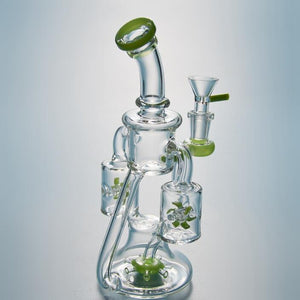 Unique Glass Bong Double Recycler Dab Rigs Propeller Perc Percolator Heady Glass Water Pipes Green Purple Oil Rig Propeller Waterpipe XL167