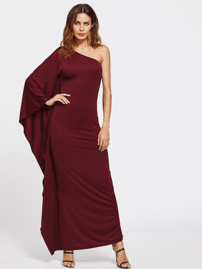 Meredith Oblique Shoulder Maxi