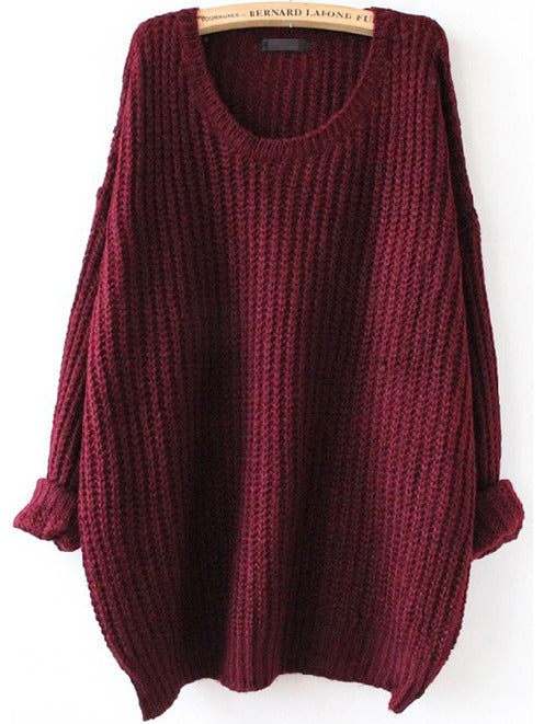 Burgundy Batwing Long Sleeve Loose Knit Sweater