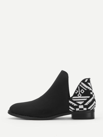Chelsea Black & White Tribal Patterned Boots