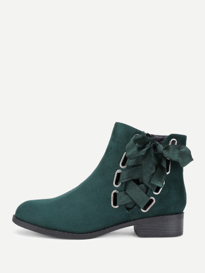 Noel Laced Ankle Boots - Holiday Green