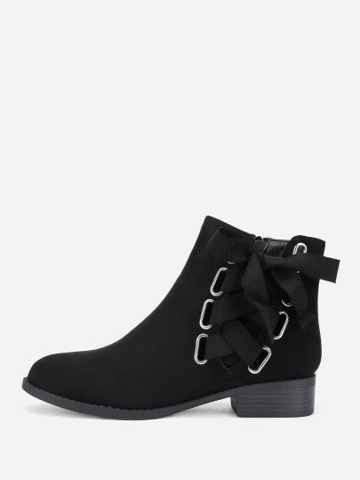 Noel Laced Ankle Boots - Black