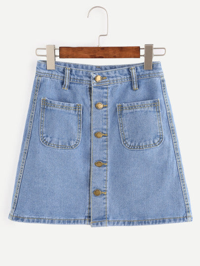 Morgan Denim Button-Up Skirt