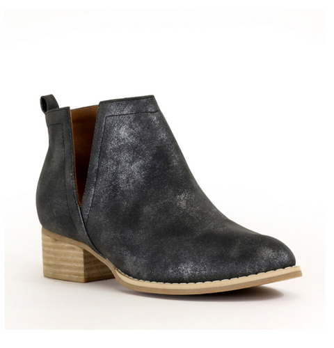 McKenna V-Cut Ankle Boots - Black