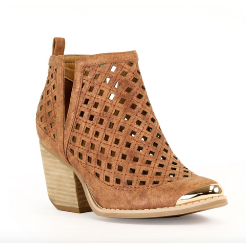 Leighton V-Cut Ankle Boot - Camel