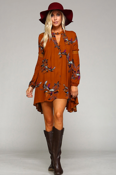 Rachel Floral Tunic - Rustic Brown
