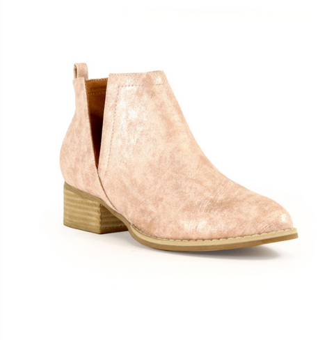 McKenna V-Cut Ankle Boots - Dusty Pink