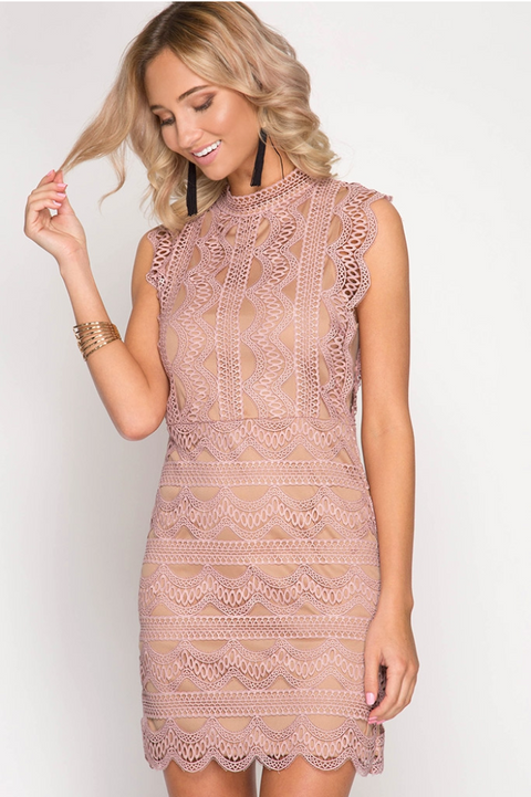 Women's Lace Mock Neck Bodycon Dress