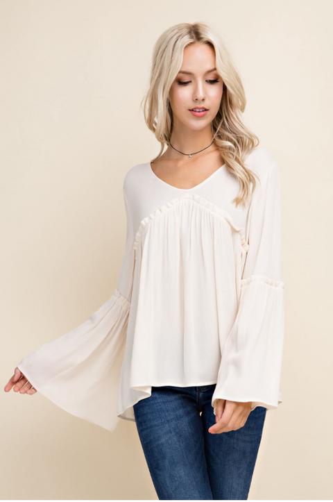 Womens Bell Sleeve V-Neck Blouse