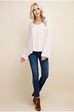 Womens Bell Sleeve V-Neck Top