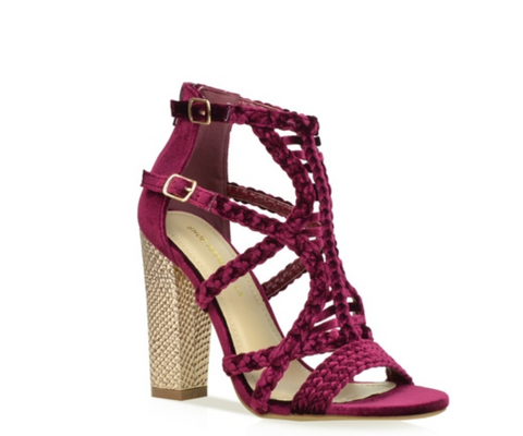 Darby Caged Block Heels - Wine