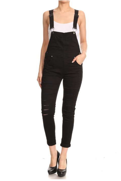 Raven Distressed Skinny Overalls