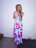Liana Light Blue Floral Maxi Dress