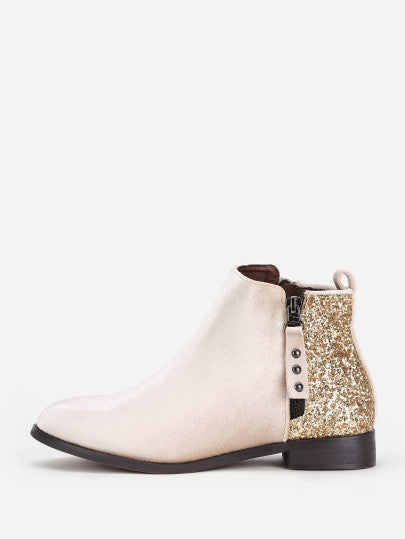 Gabrielle Sequined Ankle Boot - Apricot