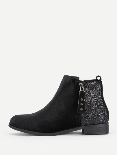 Gabrielle Sequined Ankle Boot - Black