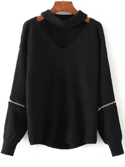 Charlotte V-Neck Choker Sweater - Black
